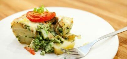 Grateng med potet, spinat og brokkoli – vegetaroppskrift