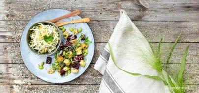 Beter og edamame med kålsalat – vegetaroppskrift