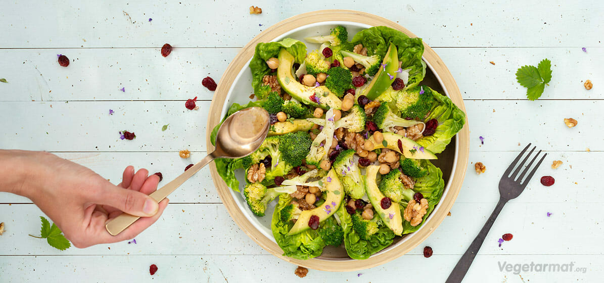 Brokkolisalat med kikerter og tranebær