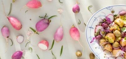 Potetsalat med rødkål og reddik – vegetaroppskrift