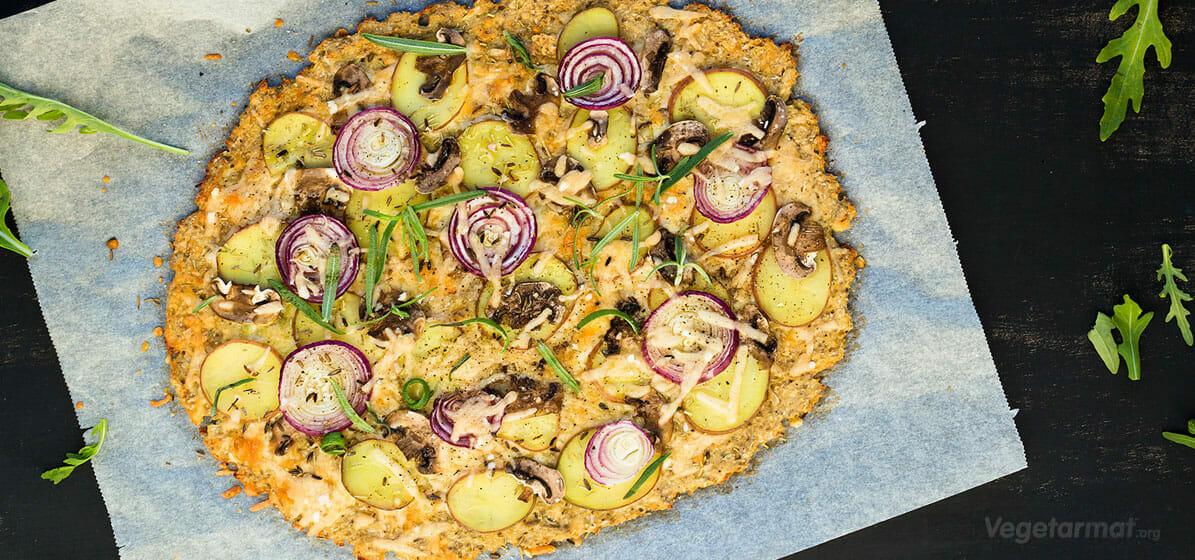 Blomkålpizza med steinsopp
