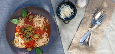 Spagetti alla puttanesca – vegetaroppskrift